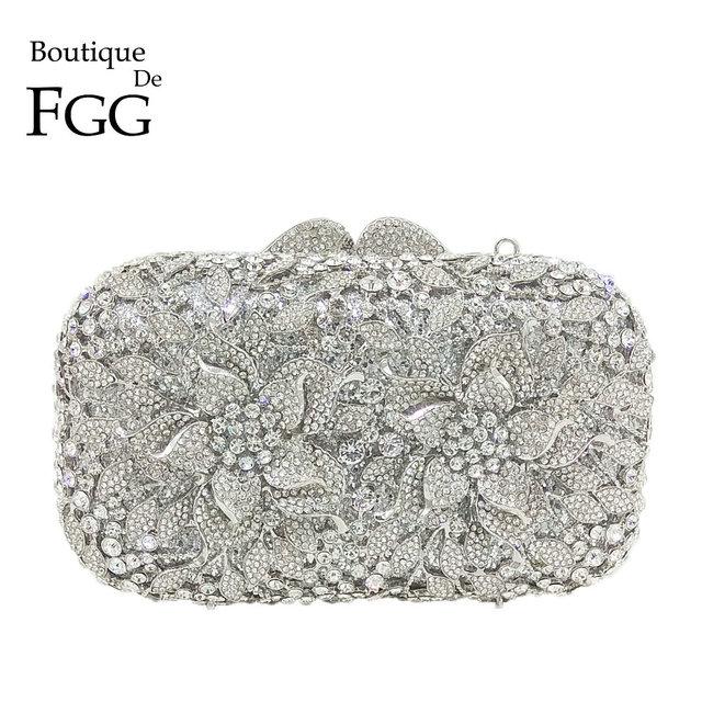 Boutique De FGG Dazzling Silver Flower Women Crystal Clutch Evening Bags Hollow Out Wedding Party Shoulder Handbag and Purse