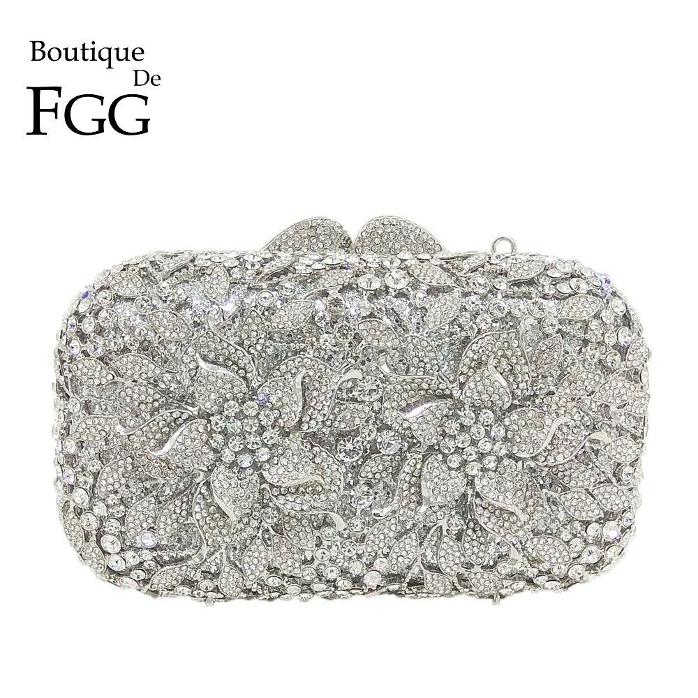 Boutique De FGG Deslumbrante Flor de Prata Sacos de Noite de Embreagem De Cristal Mulheres Oco Out Festa de Casamento Bolsa de Ombro e Bolsa