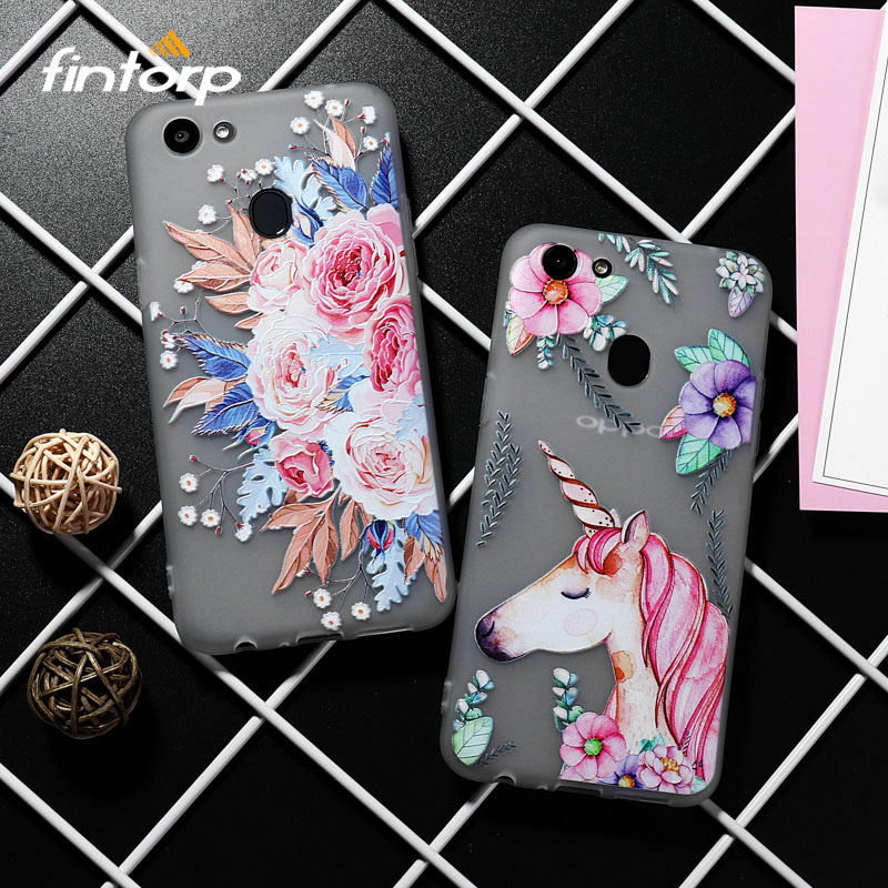 3D Relief Painted Flower Case For OPPO A83 F5 A73 Cases Cute Soft Animal Flowers Covers For OPPO R15 Mirror Cover Funda Bumper