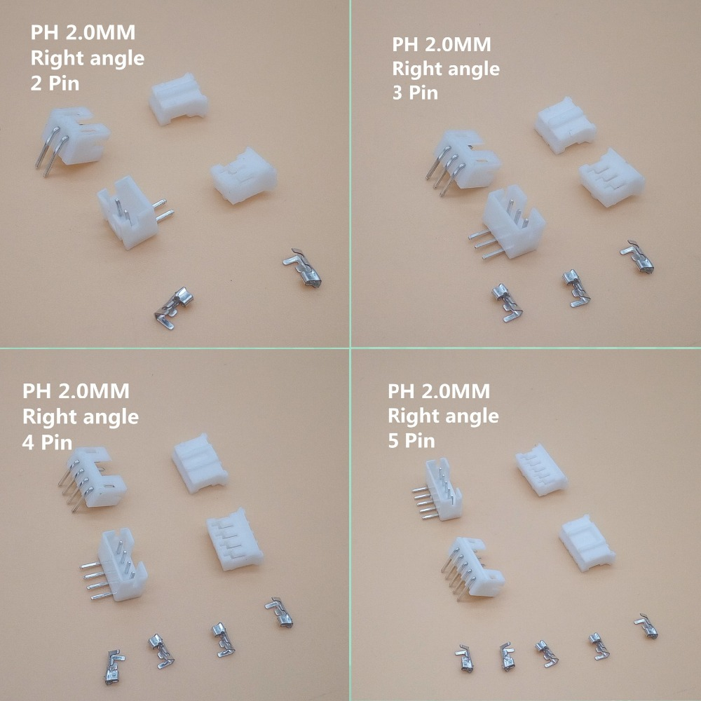 20 sets 2-12pin 2.0mm Pitch PH 2.0 Terminal/Housing/Right Angle Pin Header Connector Wire Connectors Adaptor Kit PH2.0