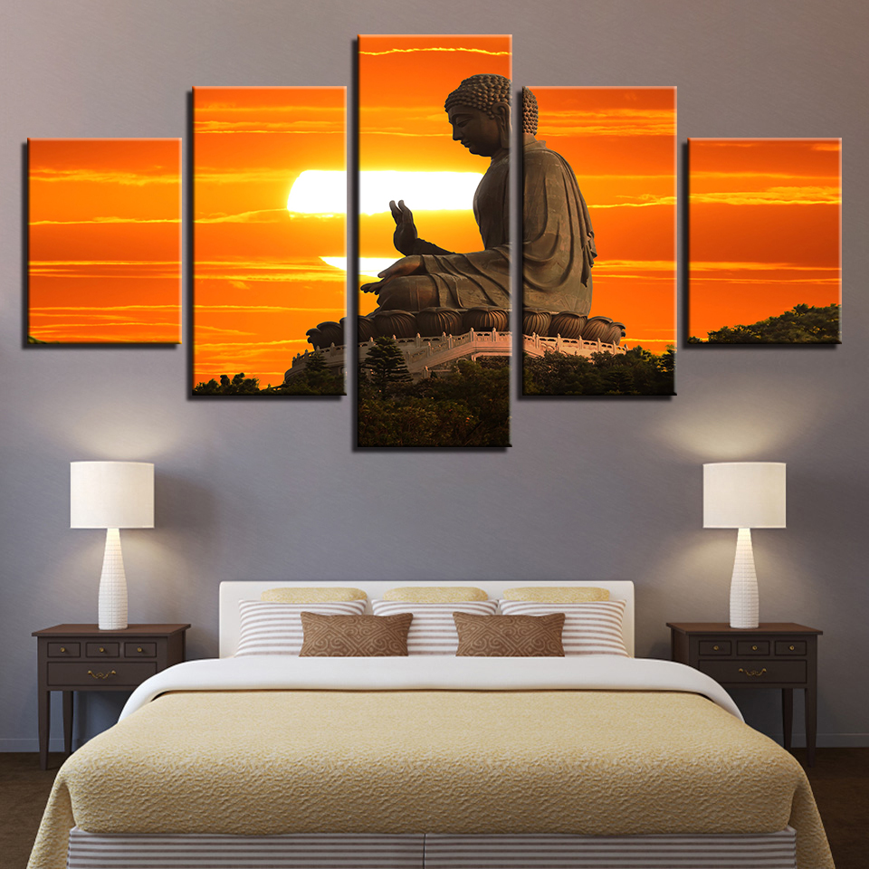 Wall Modular Picture Photo 5 Panel Buddha Canvas Art Prints Poster Home Decoration Living Room Modern Paintings Artwork