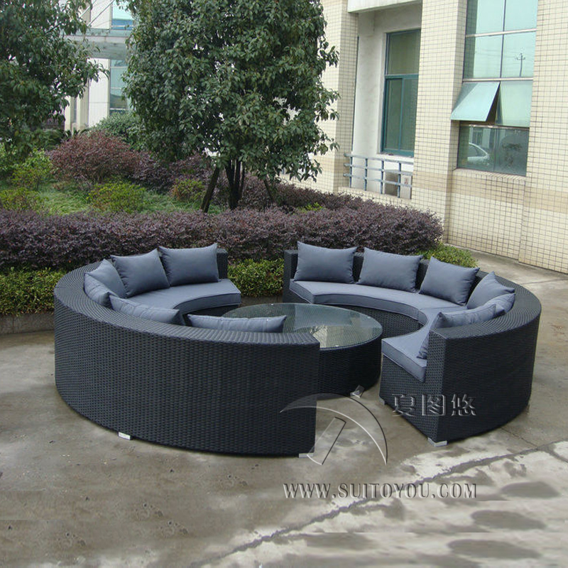 5-pcs Half-round Wicker Sofa Set PE Rattan Patio Furntiure Pastoralism Home Indoor / Outdoor Rattan Sofa For Living Room
