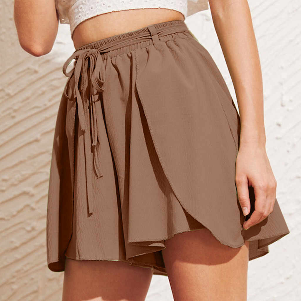 Womail szorty damskie krótkie wysokiej talii proste przycisk zdobione kieszeń szerokie nogawki letnie spodenki bawełniane spódnice 2019 May23