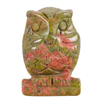 Figurita de piedra Natural búho miniatura hecha a mano unakita tallada Mini Animal estatua mineral curativo decoración para el hogar con piedras de 2 pulgadas|Figuras y miniaturas|   -