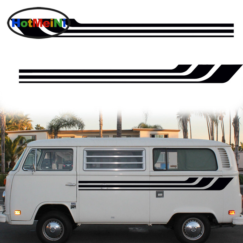 HotMeiNi 2X Slender Streamlined Stripes Art Life Stripe Vehicle Car Sticker JDM SUV Van Styling Accessories Vinyl Decal 13 Color hotmeini car sticker jdm body decorative side door suv decal reflective van fridge 2 pcs punisher military army star 50 50cm