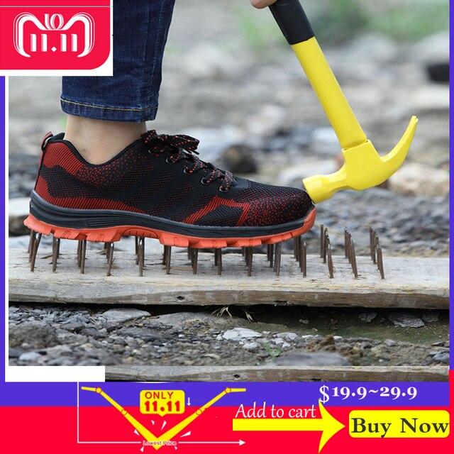Mężczyźni na zewnątrz Anti-slip stali nierdzewnej odporne na przebicie dla bezpieczeństwa w budownictwie buty buty męskie oddychające stalowa nasadka na palec buty robocze BHP 46