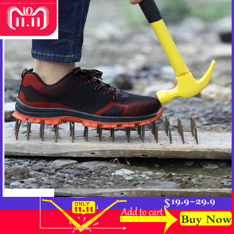 b043d6862d1 US $15.19  Men Outdoor Anti slip Steel Puncture Proof Construction Safety  Boots Shoes Men's Breathable Steel Toe Cap Work Safety Shoes 46-in Work &  ...