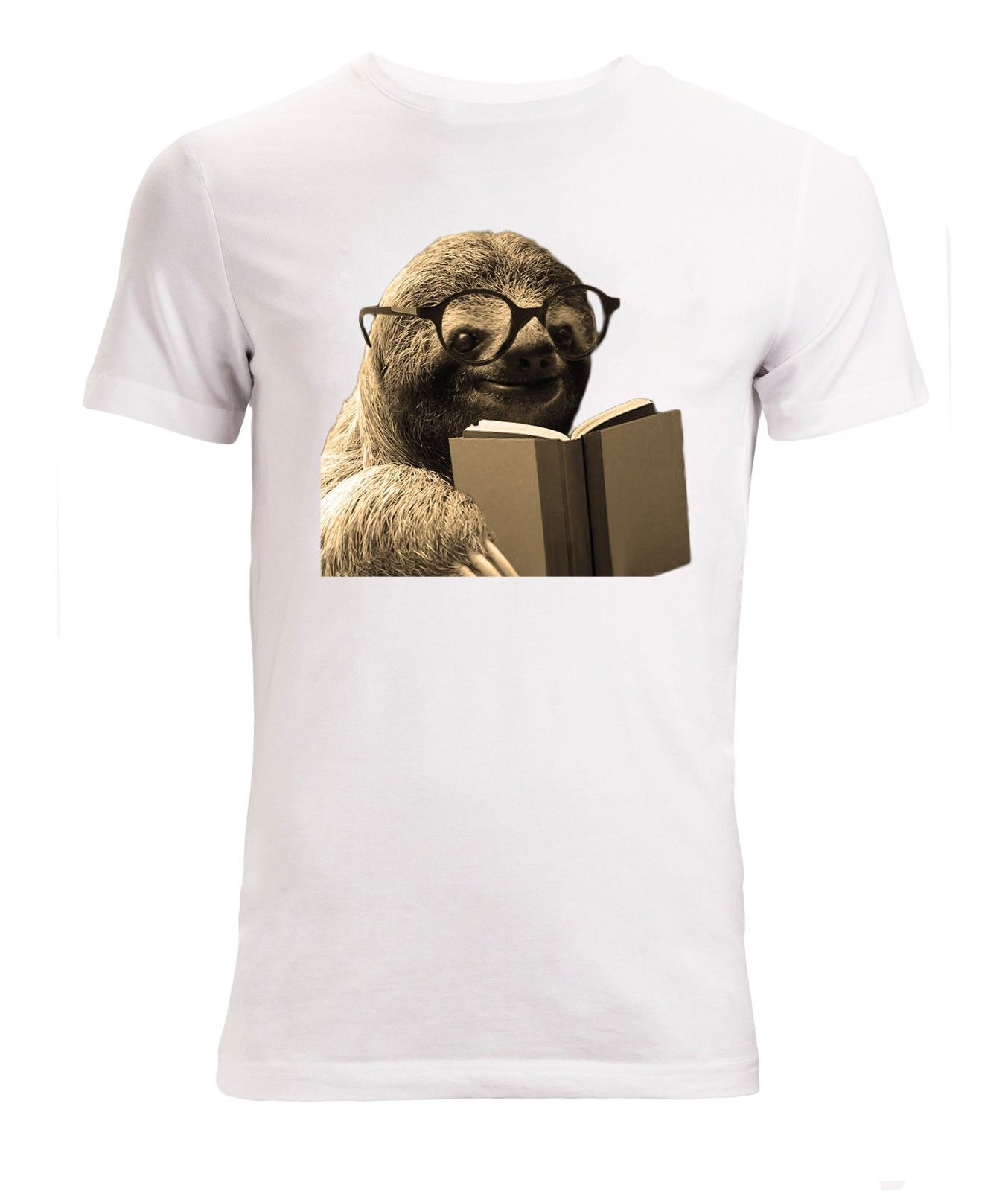 Sloth Reading A Book Wearing Glasses Men ('s Available) T Shirt White Top Cool Xxxtentacion Tshirt Cool Xxxtentacion Tshirt