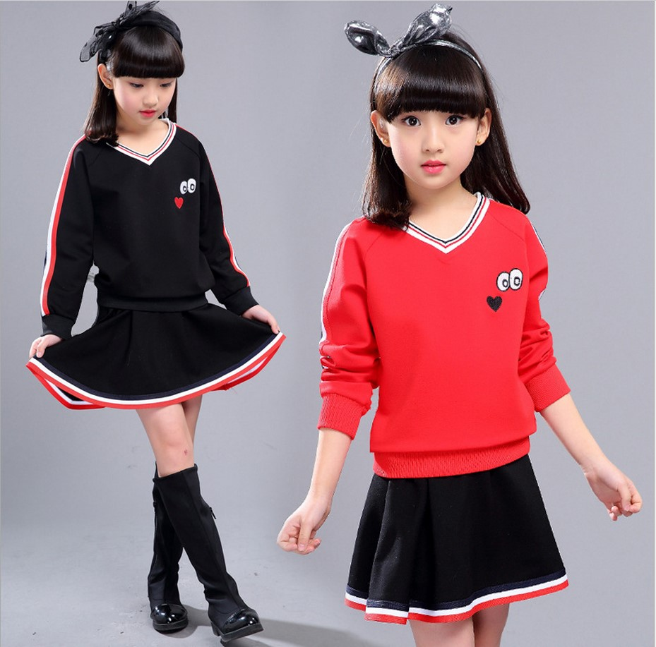Kids Clothing Sets 2017 Autumn Winter Korean Style Teenage Two-piece Girls Long Sleeve Set Children Leisure Skirt Suits 10-12 Y джинсы y two y two yt002emxxr00