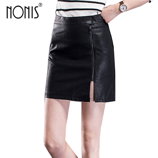 ed86d906e4 Nonis Side Split sexy women leather pencil skirts Black Skinny Zipper mini  skirt ladies work wear femme High Waist short skirt