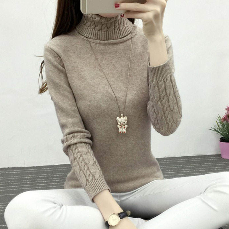 2018New Winter Thick Warm Women Turtleneck Sweaters Pullovers Knit Long Sleeve Bottoming Sweater Female Jumper Tops 10 colors 26