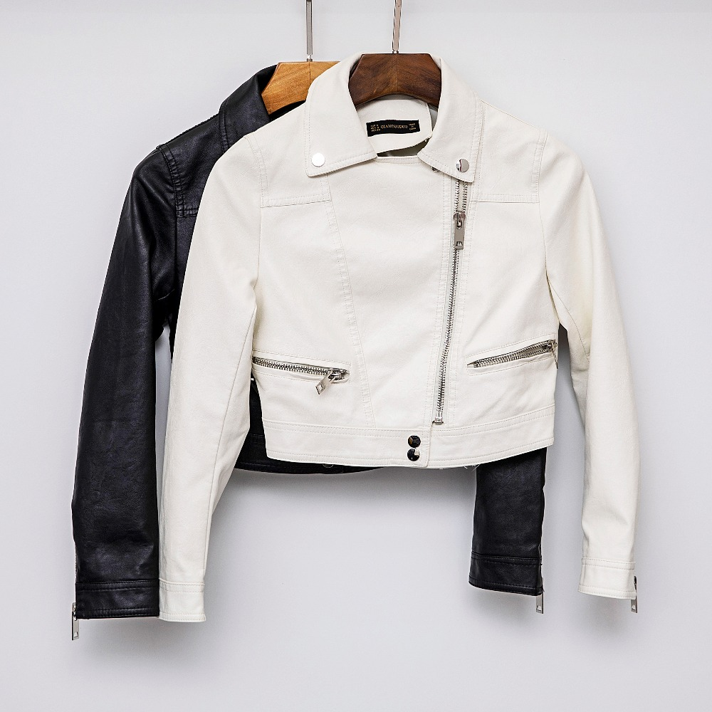 New Arrival 2019 brand Autumn Motorcycle White   leather   jackets black   leather   jacket women   leather   coat slim PU jacket   Leather