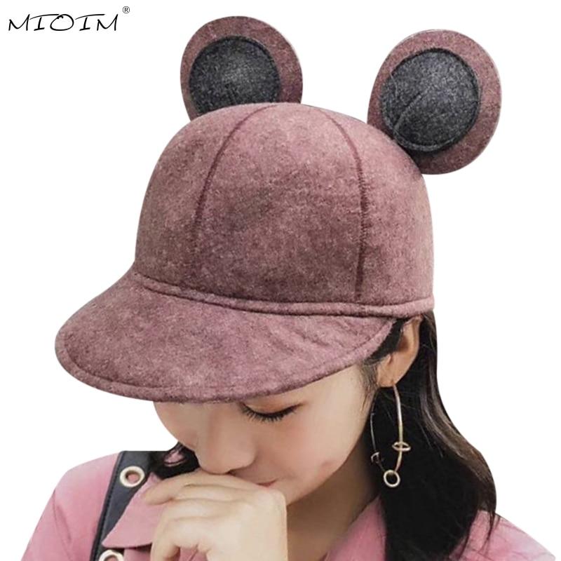 Mioiim Cute Design Mickey Ears Hat Women Baseball Caps Womens Wool