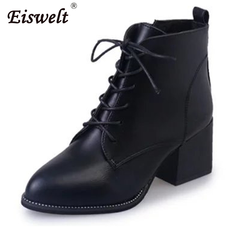 EISWELT Women PU Leather Autumn Winter Ankle Boots Fashion Black Boots Lace-up Pointed Toe Platform Heels Shoes#ZQS110 2016 fashion winter women shoes sexy pointed toe platform thin heel high heels big size 32 46 solid pu lace up ankle boots