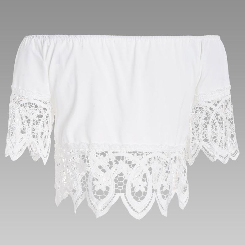 Frauen Modische Casual Off Schulter Hülse Spitze Nähen Shirt ...