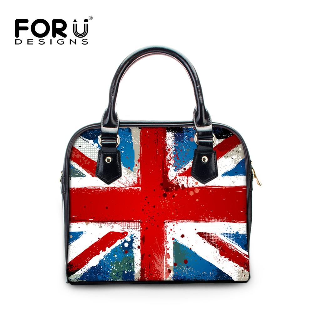FOURDESIGNS Women's Leather Luxury Shell Handbags Fashion National Flag Print Ladies Shoulder & Crossbody Bags for Office Worker fourdesigns women s leather luxury shell handbags fashion national flag print ladies shoulder