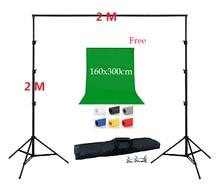 DHL-FREIES VERSCHIFFEN 2 Meter Hintergrund Stand Kit 1 stück 160×300 cm Hintergrund Freie Non woven Hintergrund Unterstützung Kit 3 Klemmen