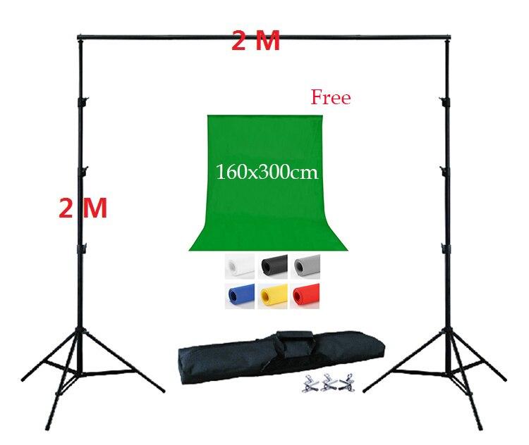 DHL LIVRAISON GRATUITE 2 Mètre Fond Stand Kit 1 pc 160x300 cm Toile de Fond Libre Non tissé toile de Fond de Soutien Kit 3 Pinces