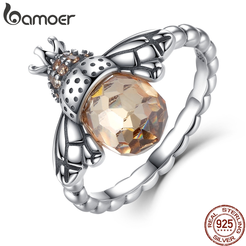 BAMOER 100% ekte 925 Sterling Sølv Orange Wing Animal Bee Finger Ring for Kvinne Sterling Sølvsmykker Christmas SCR025