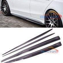 Реальные углеродного волокна боковые юбки 4 шт. набор для Benz W205 C63 C63s AMG SOnly 2015UP M130+ M132