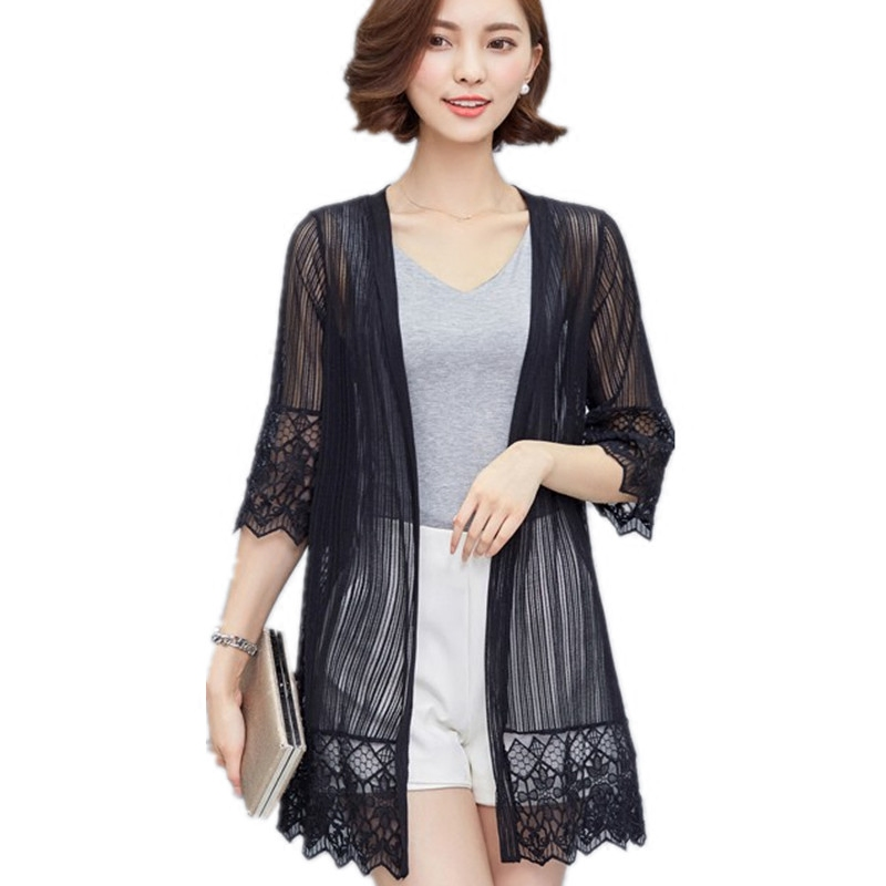 Long Lace Cardigan Jacket New Spring Summer White Black Perspective Loose Thin Outwear Fashion Speaker Sleeves Casual Coat D8