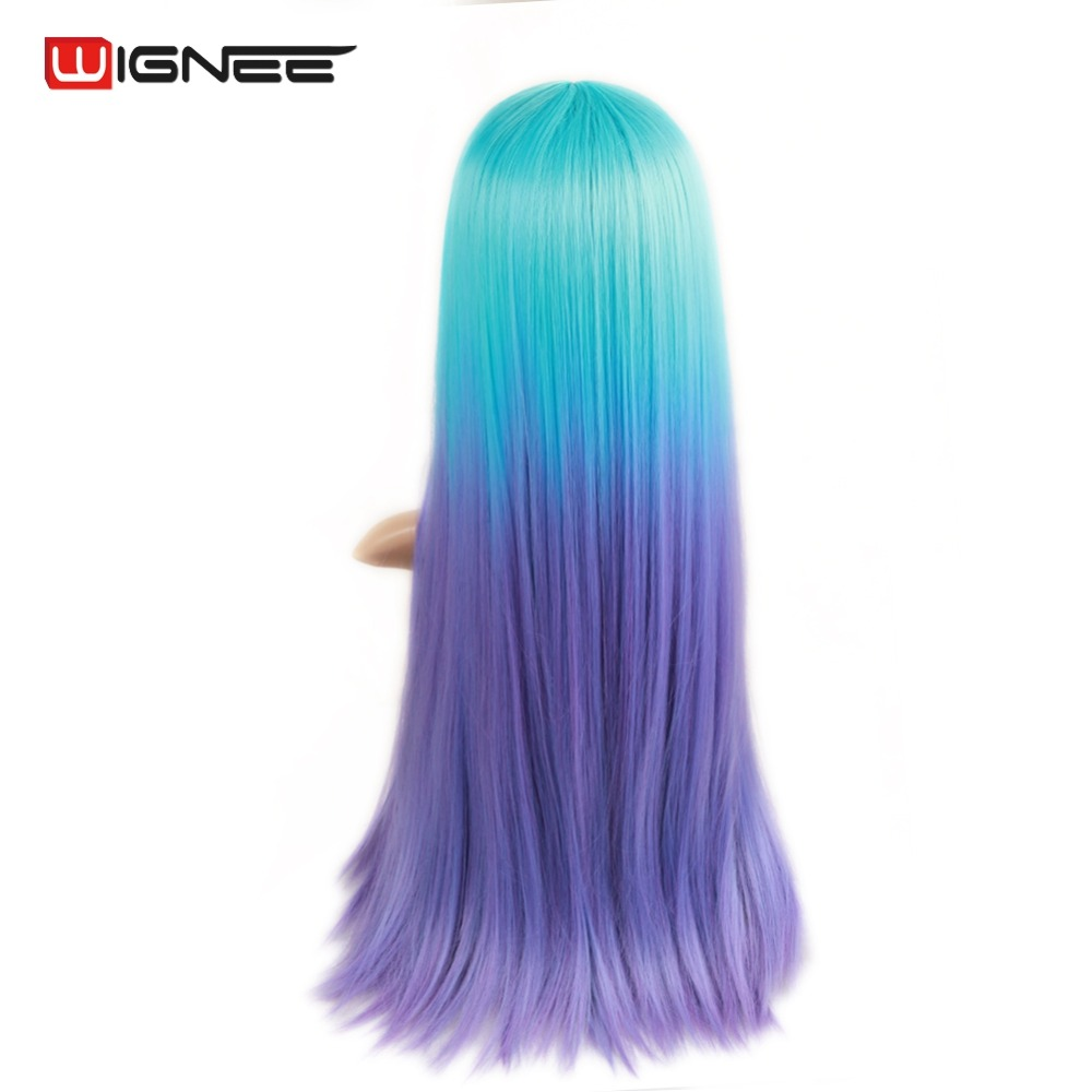 Wignee Ombre Blue Purple Long Straight Hair Synthetic Wigs For Women Halloween Cosplay Wigs Heat Resistant Daily/Party Hair Wig