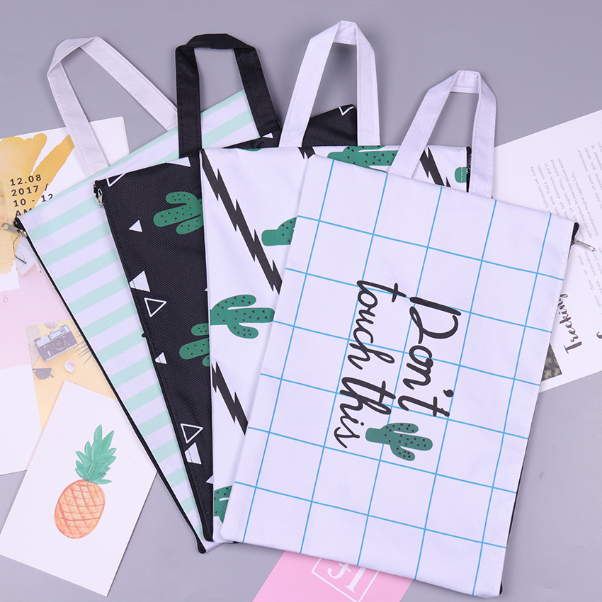 Canvas A4 Big Capacity Cactus Document Bag Business Briefcase Storage File Folder For Papers Stationery Student Gift