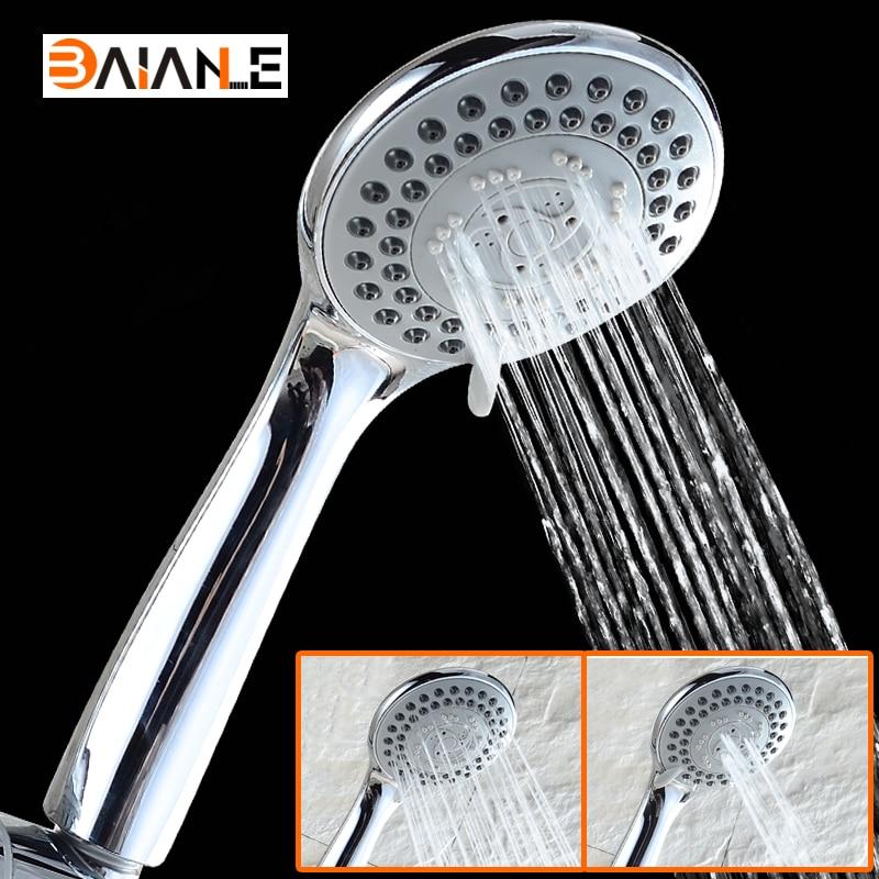 Acessórios do banheiro chuveiro cabeça ajuste Terceira marcha de poupança de Água ABS rodada segurar a mão de plástico spray de banho de chuveiro de chuva