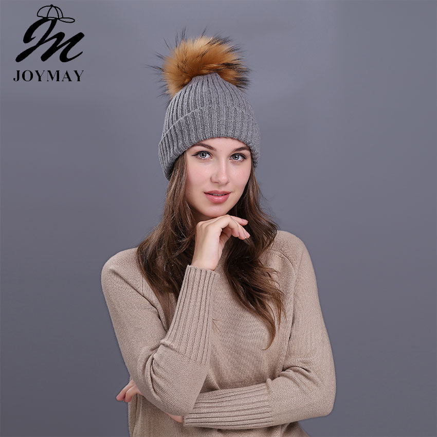 Joymay 2017 Winter Pompom Beanies Solid Color Hat Lady Plain Warm Soft Skull Knitting Cap Hats Touca Gorro Caps For Women W229 skullies beanies winter woman fashion knitting hats with pompom beanies girls warm letter b cap