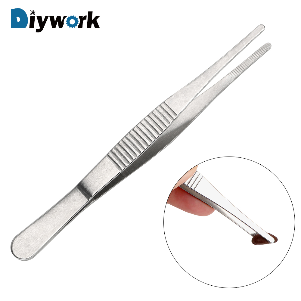 DIYWORK Long Straight Tweezer Barbecue Food Tong Toothed Tweezer Home Medical Garden Kitchen BBQ Tool Stainless Steel