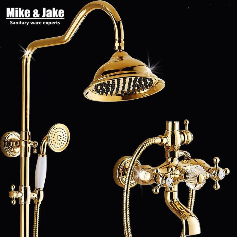 Ванная комната Золотой набор для душа с хрустальной ручкой роскошный смеситель для ванной набор с мыльницей Золотой смеситель для душа наб...