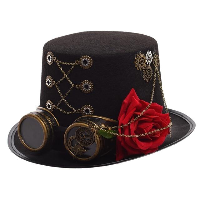 Шляпа в стиле стимпанк с очками и розой 2