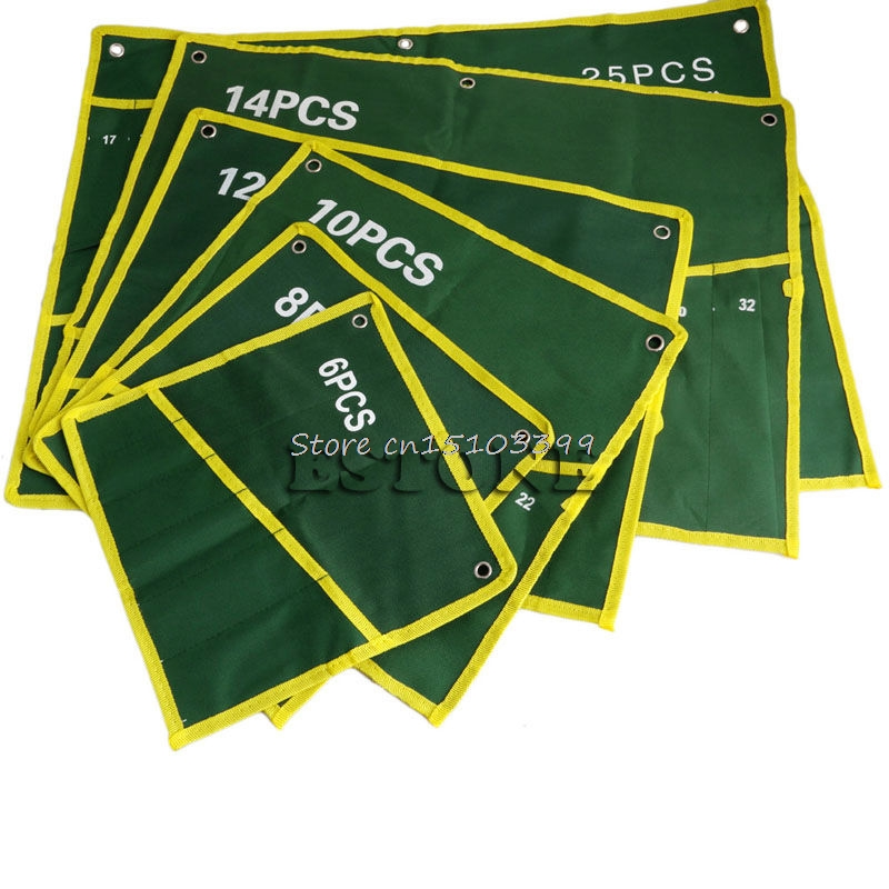 6/8/10/12/14/25 Pocket Grids Canvas Roll Spanner Plier Wrench Tool Storage Bag Drop Ship
