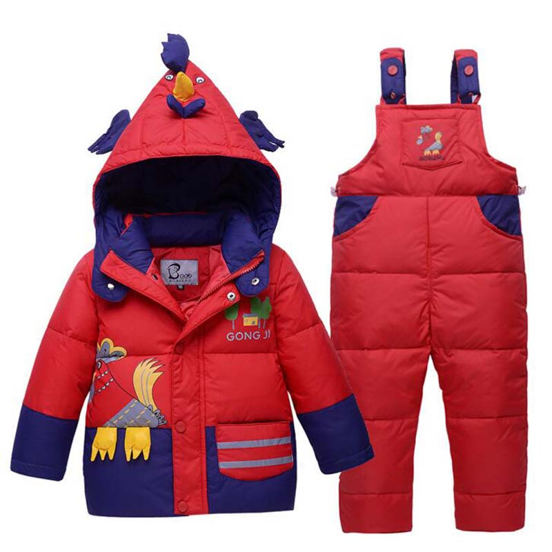 Children Set Boys girls Clothing sets winter 1-3 year hoody Down Jacket+Trousers Waterproof Snow Warm kids Clothes suit 3 colors 2015 new autumn winter warm boys girls suit children s sets baby boys hooded clothing set girl kids sets sweatshirts and pant