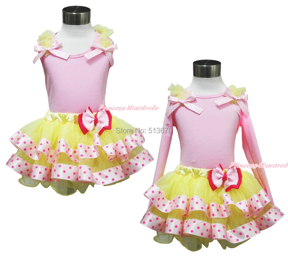 ФОТО Easter Ruffle Bow Pink Top Yellow Hot Pink Dots Satin Trim Girl Skirt Set 1-8Y MAPSA0402