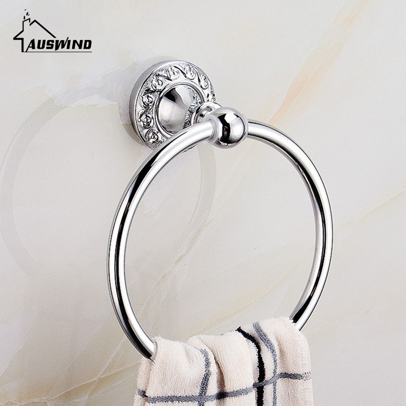 AUSWIND Antique Polished Towel Ring Silver Carved Base Bathroom Towel Holder Bath Shelf Wall Mount Bathroom Accessories Tc10