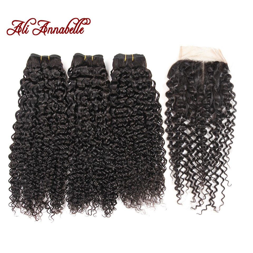 Ali Annabelle Hair Indian Kinky Curly Hair Bundles with Closure Swiss Lace Closure with Bundles Remy