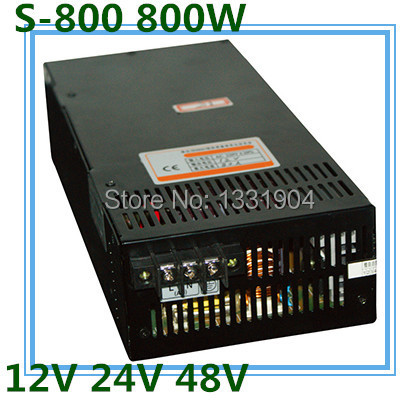 LED single phase output switching power supply S-800,800W AC input, output voltage 12V, 24V, 48V.. transformer 1200w 12v 100a adjustable 220v input single output switching power supply for led strip light ac to dc