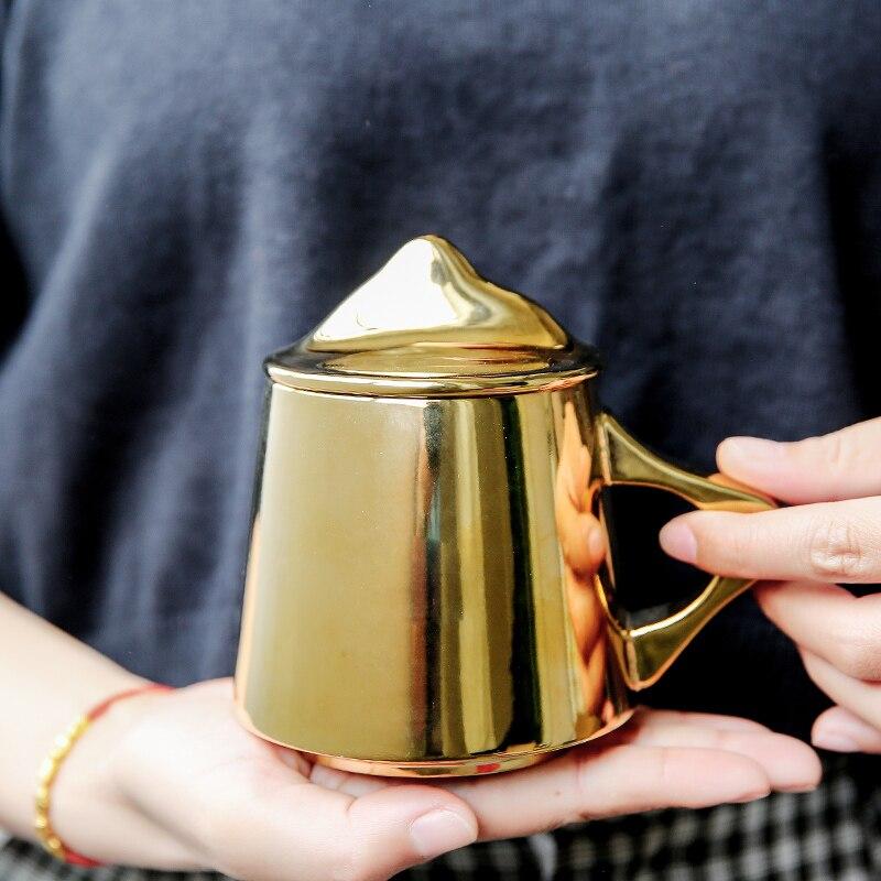 Simple bref créatif titane plaqué or et argent tasse en céramique tasse à café bureau cadeaux bureau couple tasses