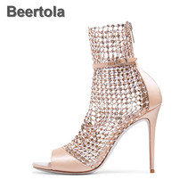 Super Sexy Women Sandals Fashion High Heels Woman Elegant Shoes Crystal Pink Red Wedding Shoes Rhinestone Womens Big Size Shoes недорого