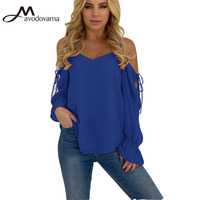 Avodovama M New Summer Long Sleeve Solid Women Blouse Ladies Sexy Off Shoulder Lace Up Casual