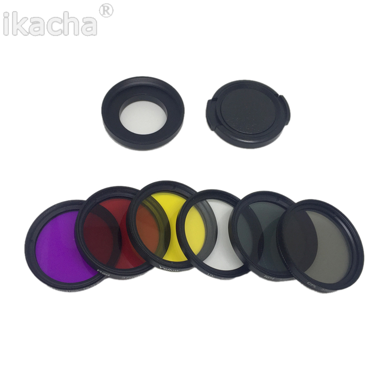 7 in 1 Camera Filter 37mm CPL FLD UV ND4 Red Yellow Sea Diving Filter + Ring + Lens Cap For Gopro Hero 6 5 4 3+ 3 5
