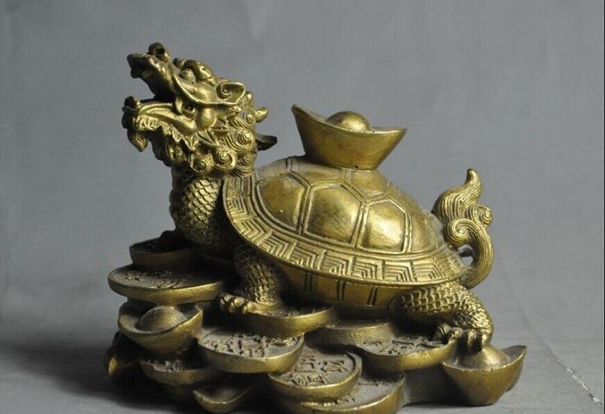 الصينية فنغشوي براس تمثال الثروة yuanbao المال عملة التنين السلحفاة السلاحف-في تماثيل ومنحوتات من المنزل والحديقة على title=