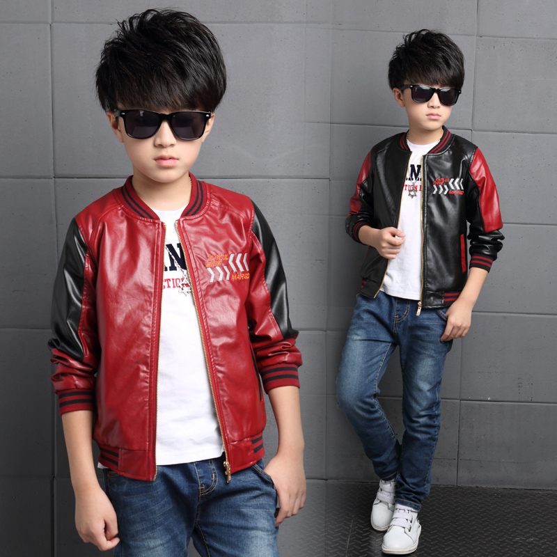 2017 Fashion Teenager Motorcycle Coats Boys Leather Jackets Patchwork Children Outerwear Letter Printed Boy Faux Leather Jacket 2017 fashion teenager motorcycle coats boys leather jackets patchwork children outerwear letter printed boy faux leather jacket