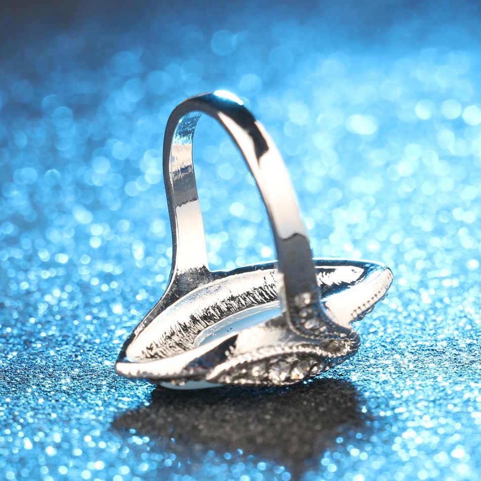 Sıcak satış 2015 lüks moda büyük Oval Opal yüzük Vintage bak gümüş kaplama beyaz kristal yüzük kadınlar için hediye