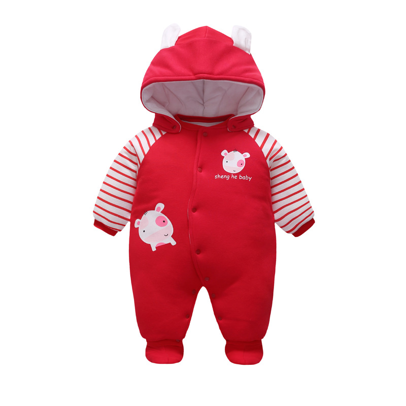 Godier Winter Baby Boy Girls Clothes Newborn Cartoon Romper Thick Cotton Warm Clothing Infant Kids Red Jumpsuits Coat With Shoes cotton baby rompers set newborn clothes baby clothing boys girls cartoon jumpsuits long sleeve overalls coveralls autumn winter