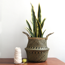 Foldable  Wicker Rattan Basket Decorative Baskets Garden Flower Pot Aundry Home Organization and Storage