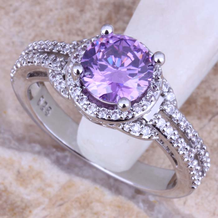 Marvelous Purple Cubic Zirconia White CZ Silver Plated Ring Size - Märkessmycken