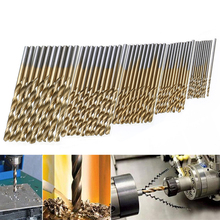 цена на 50 pcs 1/1.5/2/2.5/3mm HSS titanium coated drill bit high speed steel drill woodworking metal tool set