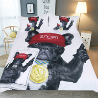 3Pcs Home Textile Bedding Set Black and white Champion dog Duvet Cover Pillow Case 3D Kid Boy Teen Girl Bed Linens Twin Full